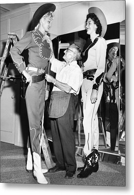 Tall Cowgirls Get Fitted Metal Print by Underwood Archives