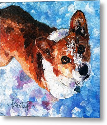 Tally In The Snow Metal Print by Kristy Tracy