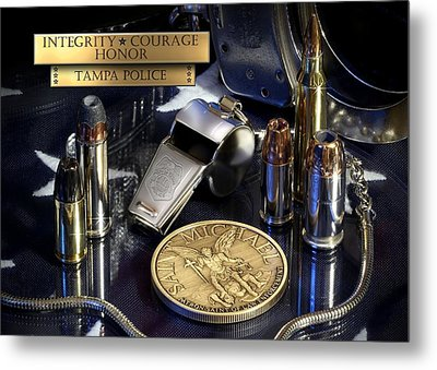 Tampa Police St Michael Metal Print by Gary Yost