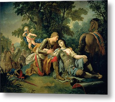Tancred And Clorinda, 1761 Metal Print by Louis Jean Francois I Lagrenee