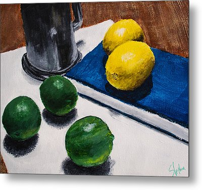 Tankard And Citrus 8x10 Metal Print by Stephen Nantz