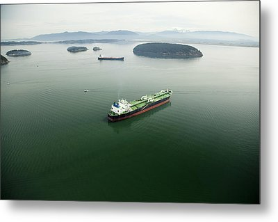 Tanker Ships At Anchor Offshore Of The Metal Print by Andrew Buchanan/SLP