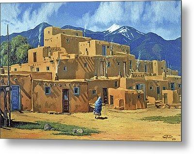 Taos Pueblo Metal Print by Randy Follis