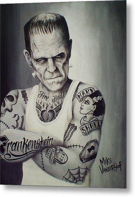 Tattooed Frankenstein By Mike Vanderhoof Metal Print by Mike Vanderhoof