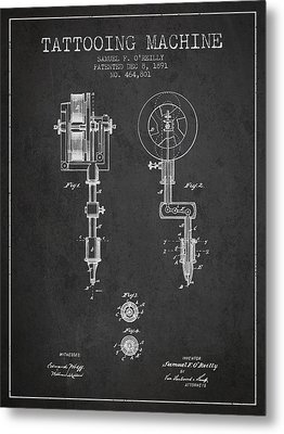 Tattooing Machine Patent From 1891 - Charcoal Metal Print by Aged Pixel