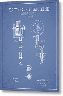 Tattooing Machine Patent From 1891 - Light Blue Metal Print by Aged Pixel