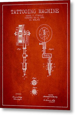 Tattooing Machine Patent From 1891 - Red Metal Print by Aged Pixel