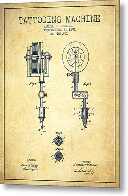 Tattooing Machine Patent From 1891 - Vintage Metal Print by Aged Pixel