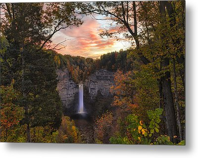Taughannock Falls Autumn Sunset Metal Print by Michele Steffey