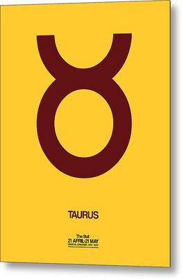 Taurus Zodiac Sign Brown Metal Print by Naxart Studio