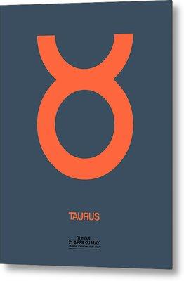 Taurus Zodiac Sign Orange Metal Print by Naxart Studio