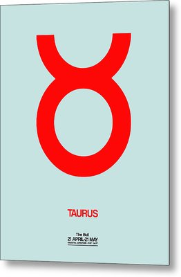 Taurus Zodiac Sign Red Metal Print by Naxart Studio
