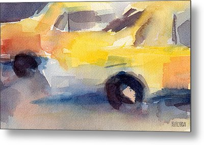 Taxi Cabs Nyc Watercolor Painting Metal Print by Beverly Brown Prints
