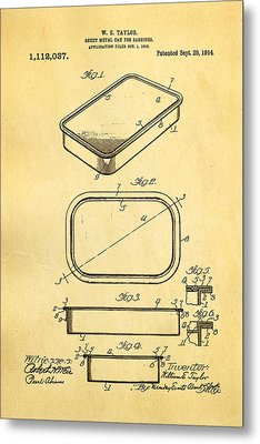 Taylor Sardine Can Patent Art 1914 Metal Print by Ian Monk