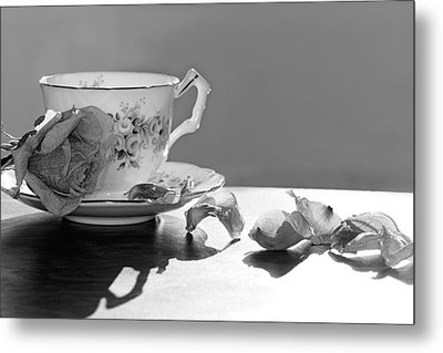 Tea And Roses Still Life Metal Print by Lisa Knechtel