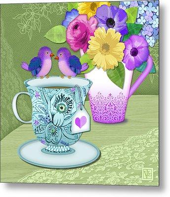 Tea For 2 Metal Print by Valerie Drake Lesiak