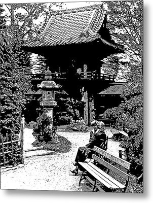 Metal Print featuring the photograph Tea Garden Golden Gate Park San Francisco 1915 by A Gurmankin