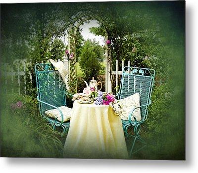 Tea In My Garden Metal Print by Trudy Wilkerson