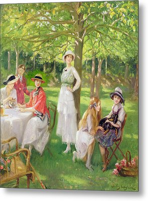 Tea In The Garden Metal Print by Jules Cayron