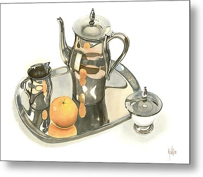 Tea Service With Orange Dramatic Metal Print by Kip DeVore