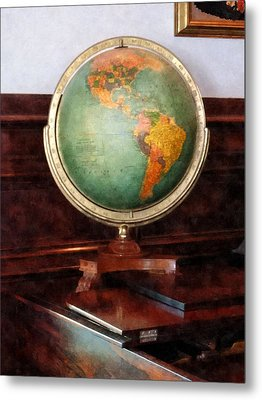 Teacher - Globe On Piano Metal Print by Susan Savad