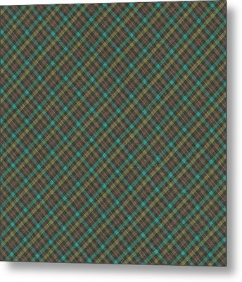 Teal And Green Diagonal Plaid Pattern Fabric Background Metal Print by Keith Webber Jr