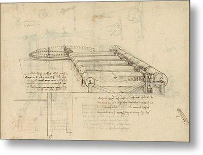 Teaselling Machine To Manufacture Plush Fabric From Atlantic Codex  Metal Print by Leonardo Da Vinci