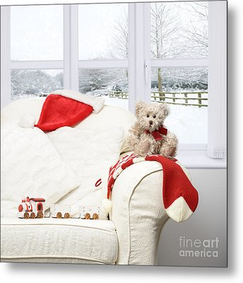 Teddy Bear On Sofa Metal Print by Amanda And Christopher Elwell