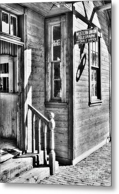 Telegraph And Cable Office Bw Metal Print by Mel Steinhauer