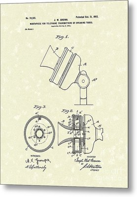 Telephone Mouthpiece 1902 Patent Art Metal Print by Prior Art Design