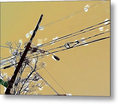 Telephone Pole With Light Metal Print by H James Hoff