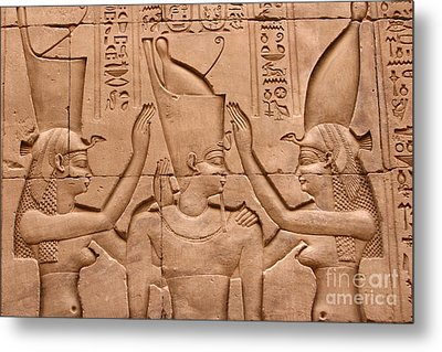 Temple Of Horus Relief Metal Print by Stephen & Donna O'Meara