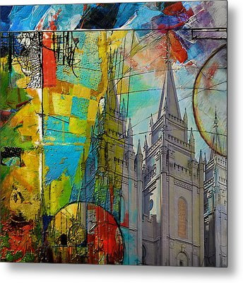 Temple Square At Salt Lake City Metal Print by Corporate Art Task Force
