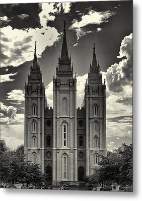Temple Square Black And White Metal Print by Joshua House