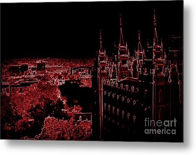 Temple Square In Red Metal Print by Kathleen Struckle