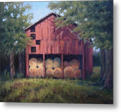 Tennessee Barn With Hay Bales Metal Print by Janet King