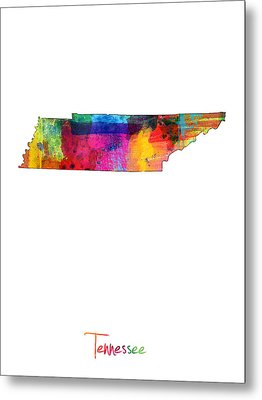 Tennessee Map Metal Print by Michael Tompsett
