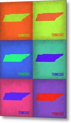Tennessee Pop Art Map 1 Metal Print by Naxart Studio