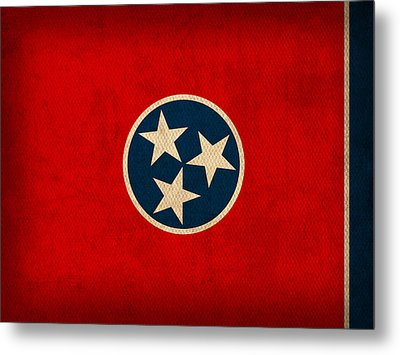 Tennessee State Flag Art On Worn Canvas Metal Print by Design Turnpike