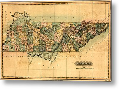 Tennessee Vintage Antique Map Metal Print by World Art Prints And Designs