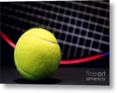 Tennis Ball And Racket Metal Print by Olivier Le Queinec