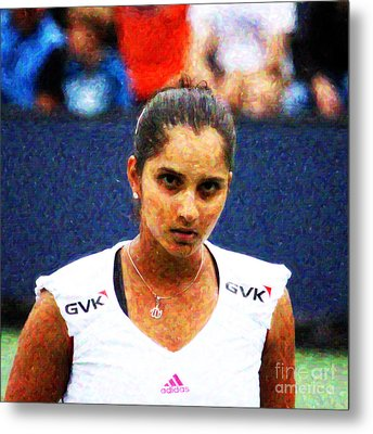 Tennis Player Sania Mirza Metal Print by Nishanth Gopinathan