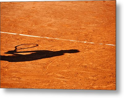 Tennis Player Shadow On A Clay Tennis Court Metal Print by Dutourdumonde Photography