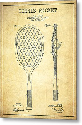 Tennnis Racketl Patent Drawing From 1921 - Vintage Metal Print by Aged Pixel
