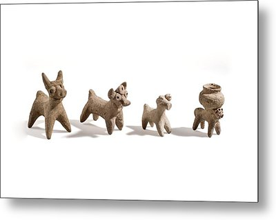 Terracotta Syro-hittite Bulls Metal Print by Science Photo Library