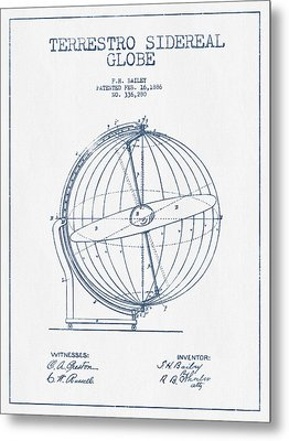 Terrestro Sidereal Globe Patent Drawing From 1886- Blue Ink Metal Print by Aged Pixel