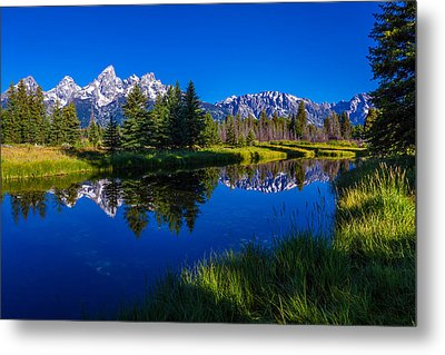 Teton Reflection Metal Print by Chad Dutson