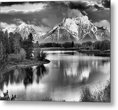 Tetons In Black And White Metal Print by Dan Sproul