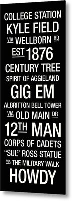 Texas A And M College Town Wall Art Metal Print by Replay Photos
