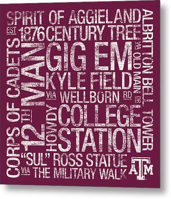 Texas Am College Colors Subway Art Metal Print by Replay Photos